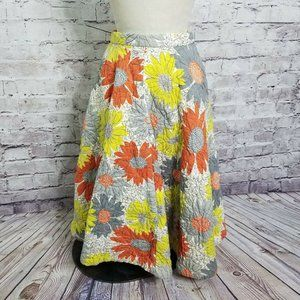 VTG 1970s Floral Patchwork Quilted Prairie Midi